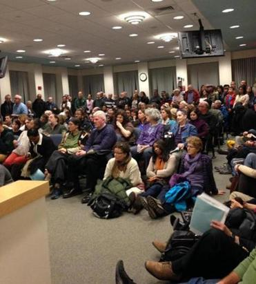 The Brookline diversity commission's statement was read before a packed meeting Jan. 5 of the Board of Selectmen.