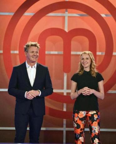 "Gordon Ramsay (left) and Christina Tosi on the set of ""MasterChef."""