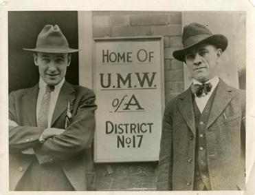 United Mine Workers head Frank Keeney (right, with Fred Mooney).