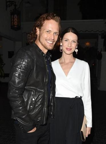 """Outlander"" costars Sam Heughan and Caitriona Balfe."