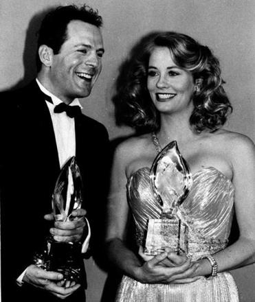 "From left: Bruce Willis and Cybill Shepherd, costars of the television show ""Moonlighting,"" in 1986."