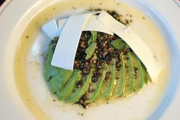 Salted avocado with ricotta salata.