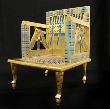 The reproduction is of a throne found in Queen Hetepheres' tomb.