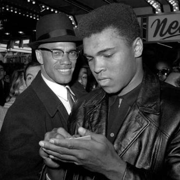 Malcolm X (left) and Muhammad Ali.