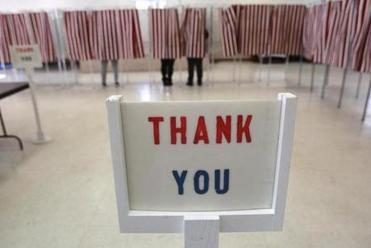 The Baptist Parish Hall in Allenstown thanked voters. Across the state, voters appeared to turn out in strong numbers.