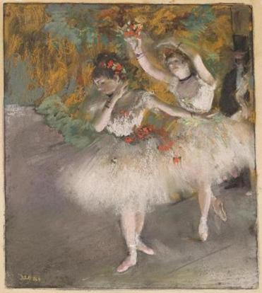 """Two Dancers Entering the Stage"" (c. 1877-78), by Edgar Degas. The artist sometimes portrayed ""stage-door Johnnies"" to whom dancers at the time were often forced, by economic necessity, to make themselves sexually available."