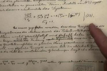 The original documents related to Albert Einstein's prediction of the existence of gravitational waves as seen in Jerusalem.