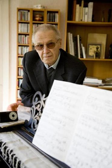 Composer Gyorgy Kurtag in his home.