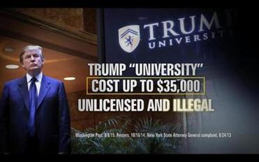 "SMALL FILE SIZE: Screen grab of Youtube video of a negative TV advertisement against Donald Trump ""Scam"" supported by Our Principles PAC."