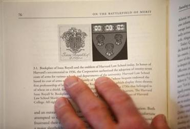 Coquillette showed how the Harvard Law crest was drawn from the crest of the Royall family, known for their brutal treatment of slaves.