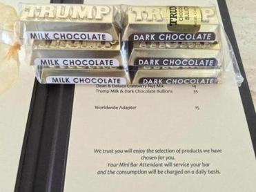 Among the items at Trump SoHo bearing Donald Trump's surname: Trump chocolates.