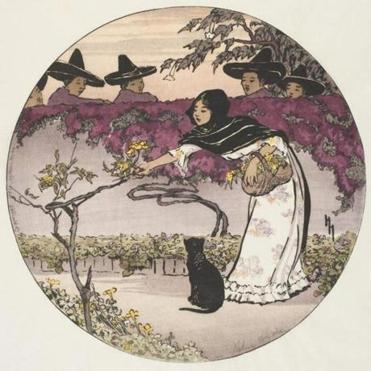 """A Mexican Coquette, 1912,"" a woodcut on cream Japan paper by Helen Hyde."
