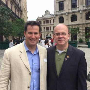 Congressmen Seth Moulton (left) and Jim McGovern together in Havana.