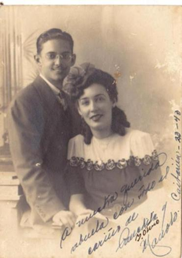 Melinda Lopez's parents, Manuel Lopez and Panchita Isidro, in an engagement photo that would have been taken around 1942 in Cuba.