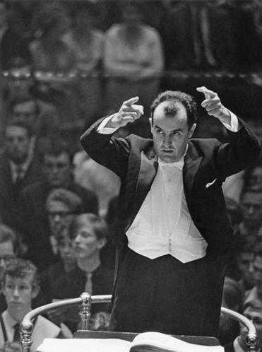 Luigi Nono, pictured conducting the London Symphony Orchestra in 1963.
