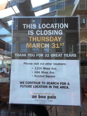 Au Bon Pain In Harvard Square Is Closing The Boston Globe