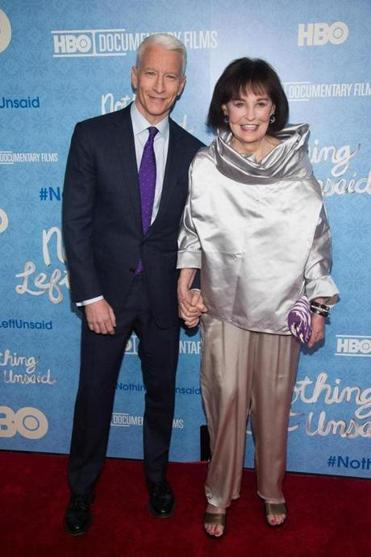 "Anderson Cooper and Gloria Vanderbilt at the premiere of ""Nothing Left Unsaid"" in April."