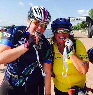 Lauren and Moira Stanford on bikes at JDRF ride in Wisconsin last year.