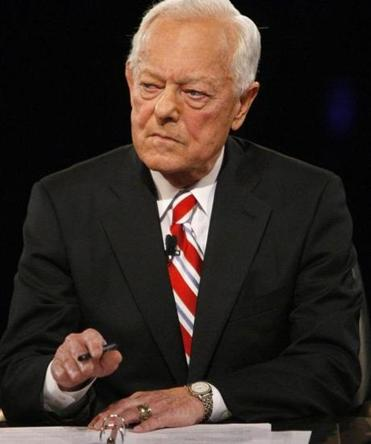 Bob Schieffer moderated a presidential debate between Barack Obama and John McCain in October 2008. Schieffer and David Hartman were honored by the New England Historic Genealogical Society on Friday.