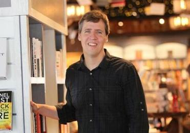 "Jeff Kinney, author of ""Diary of a Wimpy Kid'' series, at his new Plainville bookstore."