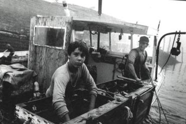 """Ricky and Daniel, 1990,"" a photo from Olive Pierce's 1996 book ""Up River: The Story of a Maine Fishing Community."""