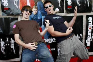 Ben Gram (left) and Evan Burgener of Northeastern University show off their air guitar skills.