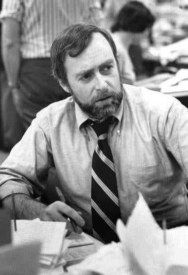 Sydney Shanberg at the New York Times office in 1976.