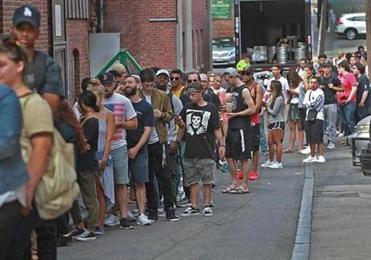 A Kanye West pop-up store on Boylston Street had fans lined up around the block and into an alley.