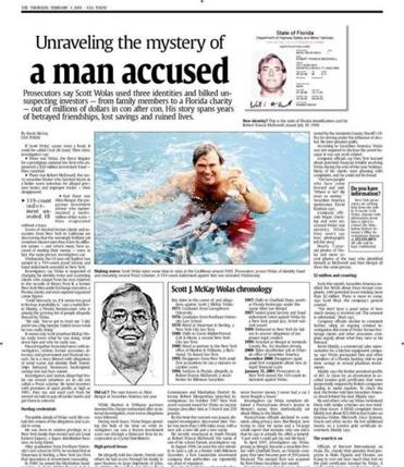A page from USA Today from 2001, showing an article about the man who has called himself Eugene Grathwohl.