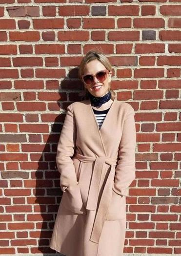 Fashion stylist Michelle Coughlan in a double-belted coat from Marks and Spencer.