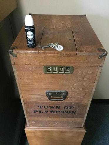 16zomachines - The town of Plympton is one of 65 communities in Massachusetts that still counts ballots by hand, using a wooden ballot box made in 1927. (Plympton Town Clerk)
