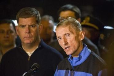 Boston Police Commissioner William Evans delivers a statement outside of Massachusetts General Hospital where 2 Boston Police officers were brought after being shot in a firefight leaving a suspect dead in East Boston early Thursday, October 13, 2016. (Scott Eisen for The Boston Globe)