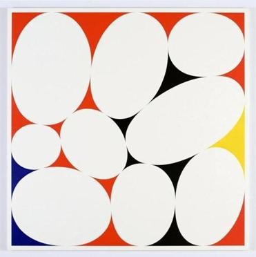 "Cary Smith, ""Ovals #31 (red-black-blue-yellow),"" 2015."