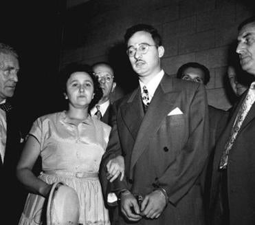 ** FILE ** In this 1951 file photo, Ethel and Julius Rosenberg are shown during their trial for espionage in New York City. Grand jury transcripts released Thursday from the biggest espionage case of the Cold War raise questions about whether Ethel Rosenberg was convicted and executed based on perjured prosecution testimony. The Rosenbergs were convicted of passing nuclear weapons secrets to the Soviet Union and were executed in 1953. Since then, decrypted Soviet cables have appeared to confirm that Julius Rosenberg was a spy, but doubts have remained about Ethel Rosenberg's role. (AP Photo/File) Published 04-26-2009: Ethel and Julius Rosenberg, above, at their trial for espionage in New York in 1951. Walter and Miriam Schneir, top, argued the innocence of the Rosenbergs at a Town Hall debate in New York in 1983. New evidence would change the Schneirs' views. (Associated Press) Library Tag 04302009 Obituary