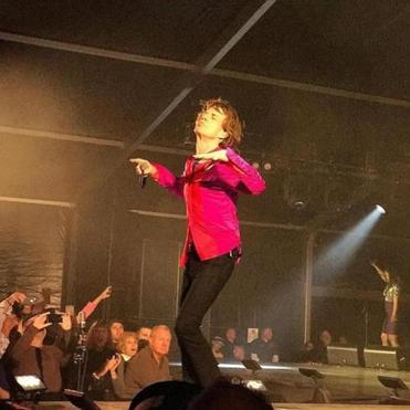 Mick Jagger of the Rolling Stones doing his thing at a private party hosted by Robert Kraft at Gillette Stadium Tuesday.
