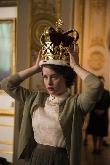 "Claire Foy plays a young Queen Elizabeth in ""The Crown."""
