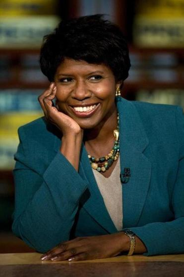 "FILE: Long-time PBS journalist Gwen Ifill has died at the age of 61 after battling cancer. WASHINGTON - OCTOBER 5: (AFP OUT) Gwen Ifill of PBS watches a clip of ""Saturday Night Live"" during a live taping of ""Meet the Press"" from NBC October 5, 2008 in Washington, DC. Democratic strategist Paul Begala and Republican strategist Mike Murphy spoke about the upcoming US presidential elections while David Gregory of NBC News, Gwen Ifill of PBS, Peggy Noonan of Wall Street Journal, Chuck Todd of NBC News, and David Yepsen of the Des Moines Register participated in a roundtable to also speak about the election. (Photo by Brendan Smialowski/Getty Images for Meet The Press)"