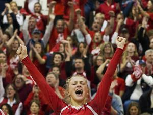 Barnstable's Ingrid Murphy celebrates during the MIAA Division 1 Girls Volleyball Championship against Newton North at Shrewsbury High School on Saturday, November 19, 2016. Photo by Jackie Ricciardi for the Boston Globe