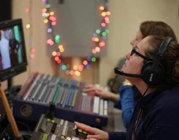 Norwood Ma- 12/15//2016 Meghan Corbett (cq) is the station manager at Norwood Public Access TV in Norwood. The studio is inside Norwood High school. Jonathan Wiggs /GlobeStaff) Reporter:Topic