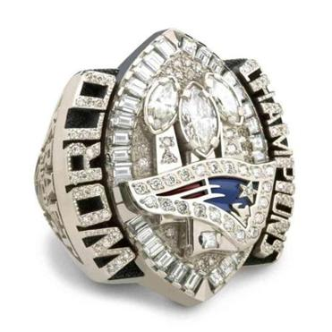 FROM MERLIN ARCHIVE DO NOT RESEND TO LIBRARY This is an image of the 2005 Super Bowl Ring released by the New England Patriots on Sunday, June 12, 2005. Members of the team picked up their rings, 14-karat white gold with 124 diamonds, Sunday at owner Robert Kraft's home in Brookline, Mass. (AP Photo/The New England Patriots) Library Tag 06202005 Sports 06292005 Library Tag Page One
