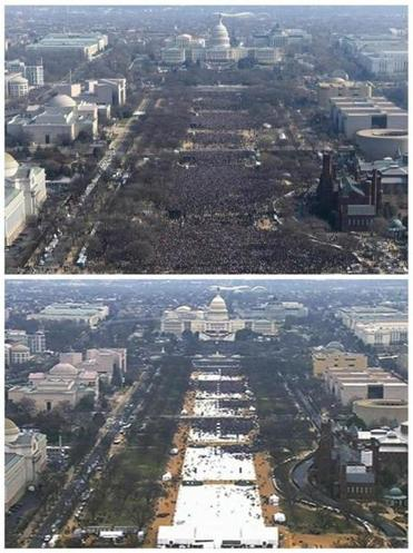 Photos show a view of the crowd on the National Mall at the inaugurations of President Obama (top), in January 2009 and President Trump on Jan. 20, 2017.