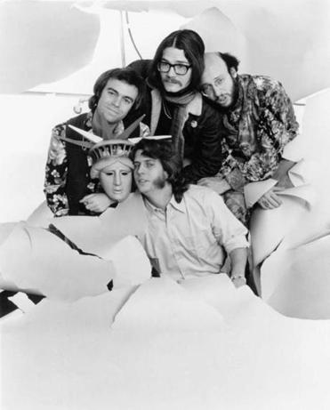 Clockwise from right: Firesign Theatre members Peter Bergman, Phil Austin, Philip Proctor, and David Ossman in 1970.