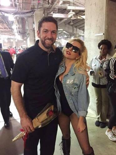 Brian Mann (left) with Lady Gaga after the Super Bowl LI halftime show.