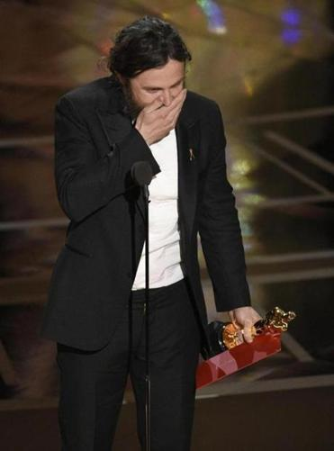 "Casey Affleck reacts to his Oscar win for ""Manchester by the Sea."""
