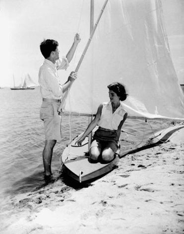 John F. Kennedy, and his then-fiancee, Jacqueline Bouvier, in Hyannis in 1953.