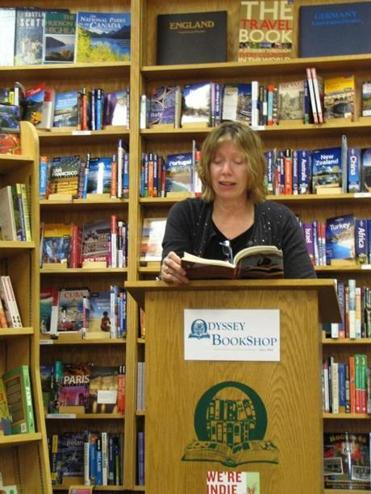 Lynne Barrett appeared at Odyssey Bookstore in South Hadley to do an author reading. Independent bookstores are joining together to attract more authors through their doors.