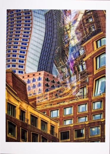 "Bob Hesse's ""Unquiet City II'' is part of ""New England on Paper"" at the Boston Athenaeum."