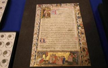 BOSTON, MA - 4/19/2017: A repatriation ceremony , Boston Public Library will formally return three artifacts previously part of its Special Collections to Italy. One of the items included an illuminated page of the Scuola Grande di San Giovanni Evangelistas, dating from between 1418-1422, ( David L Ryan/Globe Staff Photo) SECTION: METRO TOPIC 20artifacts