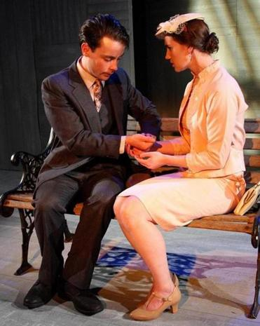 "Eric McGowan and Katie Flanagan in ""You Lied to Me About Centralia"" by John Guare in Zeitgeist Stage Company's ""Desire."""