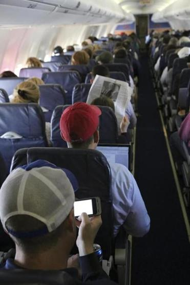 A passenger used a mobile device on board a Southwest Airlines flight.